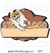 Vector Logo of a White Tooth Mascot Cartoon Character on a Blank Tan and Brown LabelWhite Tooth Mascot Cartoon Character on a Blank Tan and Brown Label by Toons4Biz