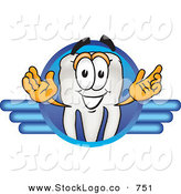 Vector Logo of a White Tooth Mascot Cartoon Character on a Blue Logo by Toons4Biz