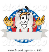 Vector Logo of a White Tooth Mascot Cartoon Character on an American Business Label by Toons4Biz