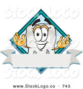 Vector Logo of a White Tooth Mascot Cartoon Character over a Blank White Banner on a Logo by Toons4Biz