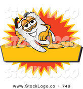 Vector Logo of a White Tooth Mascot Cartoon Character Reclining on a Yellow and Orange Business Label by Toons4Biz
