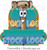Vector Logo of a Wood Mallet Mascot Cartoon Character with a Blank Blue and Green Label by Toons4Biz