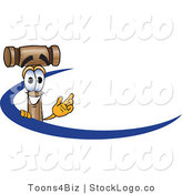 Vector Logo of a Wooden Mallet Mascot Cartoon Character Logo with a Blue Dash by Toons4Biz