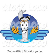 Vector Logo of a Wrench Mascot Cartoon Character Logo on Blue Lines Resembling a Wing Design by Toons4Biz