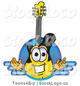 Vector Logo of a Yellow and Black Guitar Mascot Cartoon Character Logo with a Circle and Lines by Toons4Biz