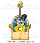 Vector Logo of a Yellow and Black Guitar Mascot Cartoon Character with a Blank Tan Label by Toons4Biz