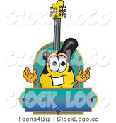 Vector Logo of a Yellow and Black Guitar Mascot Cartoon Character with a Blue Label by Toons4Biz