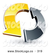 Vector Logo of a Yellow and Chrome Arrow Circling Around by Beboy