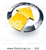 Vector Logo of a Yellow Arrow Pointing Inside a Black Circle by Beboy