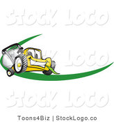Vector Logo of a Yellow Lawn Mower Mascot Cartoon Character Facing Front on a Logo or Nametag with a Green Swoop by Toons4Biz
