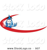Vector Logo of an Excited Water Drop Mascot Cartoon Character with a Red Dash on an Employee Nametag or Business Logo by Toons4Biz