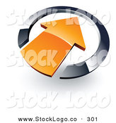 Vector Logo of an Orange Arrow Pointing Inwards in a Silver Circle by Beboy