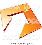 Vector Logo of an Orange Arrow Tile by Beboy