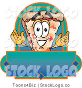 Vector Logo of an Outgoing Pizza Mascot Cartoon Character over a Blank Banner by Toons4Biz