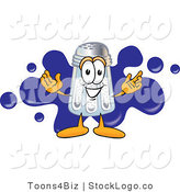 Vector Logo of an Outgoing Salt Shaker Mascot Cartoon Character Standing in Front of a Blue Paint Splatter on a Business Logo by Toons4Biz