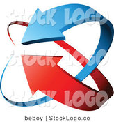 Vector Logo of Blue and Red Arrows Circling by Beboy