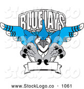 Vector Logo of Blue Jays Character School Mascot Logo, on White by Toons4Biz