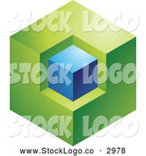 Vector of a 3d Abstract Green and Blue Cube Logo by Cidepix