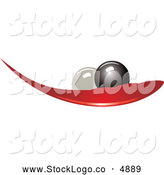 Vector of a Black and White Pearls on a Red Leaf Logo by Eugene