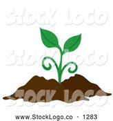 Vector of a Sprouting Plant in Dirt by Pams Clipart