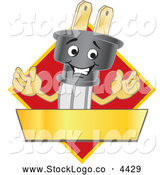 Vector of an Electric Plug Mascot over a Red Diamond and Gold Banner by Toons4Biz