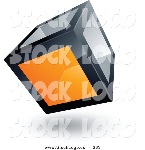 3d Vector Logo of a Pre-Made Logo of a Cube with One Orange Transparent Window on White