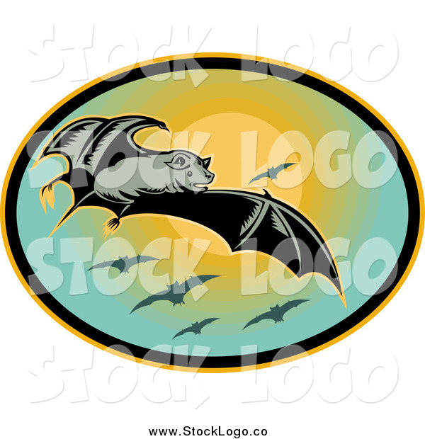 Clipart of a Flying Bat and Sun Logo