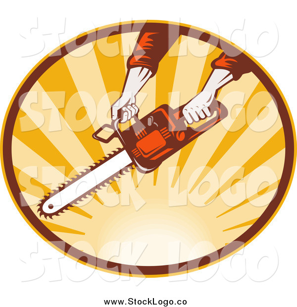 Clipart of a Hands Operating a Chainsaw over Sunshine Logo