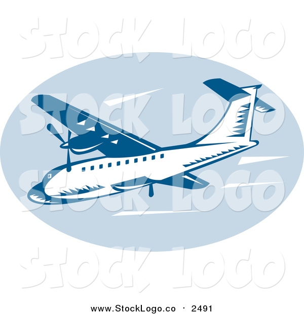 Clipart of a Retro Blue Airliner in Flight Logo