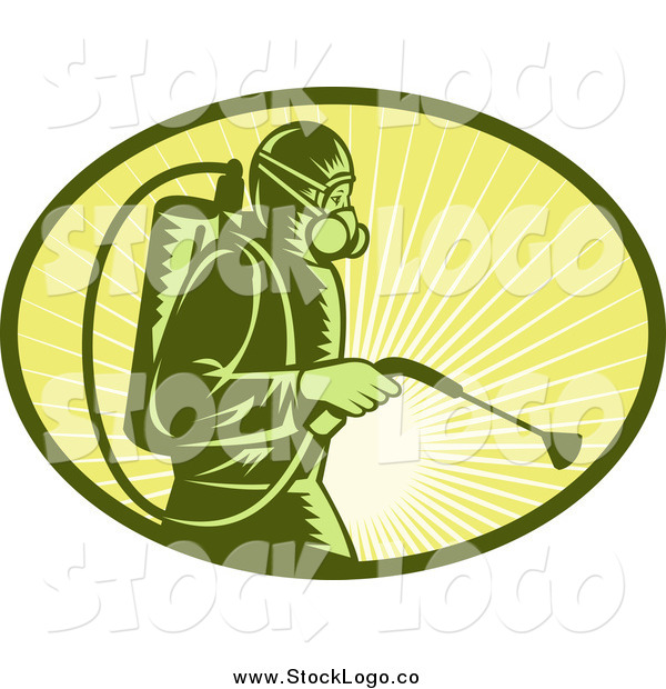 Clipart of a Woodcut Exterminator Worker and Sun Rays Oval Logo