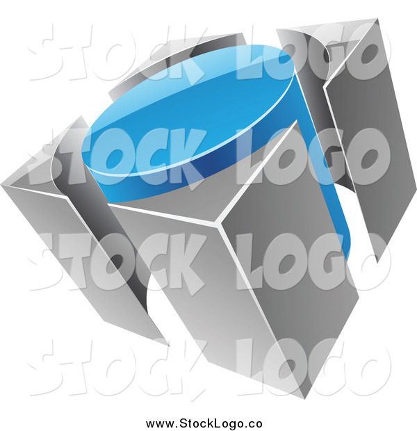 Vector Clipart of a 3d Blue and Gray Circle and Guards Logo