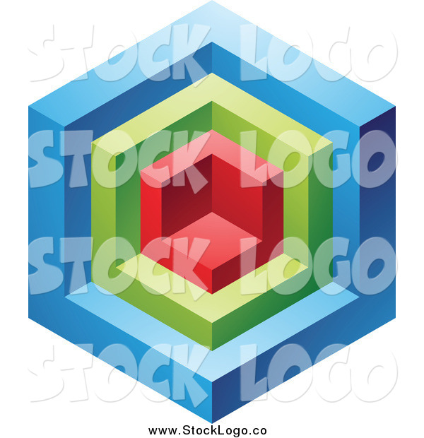Vector Clipart of a 3d Blue, Red and Green Cube Logo Icon