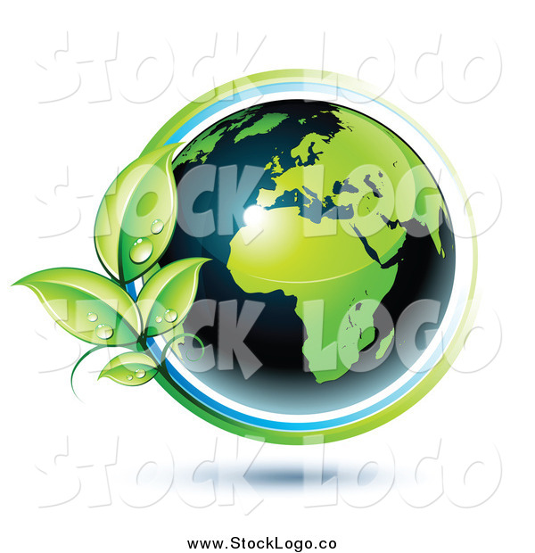 Vector Clipart of a 3d Green and Dark Blue African Globe Circled with Blue and Green Lines and Dewy Leaves