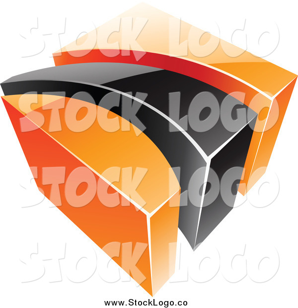 Vector Clipart of a 3d Orange and Black Swoosh and Cube Logo
