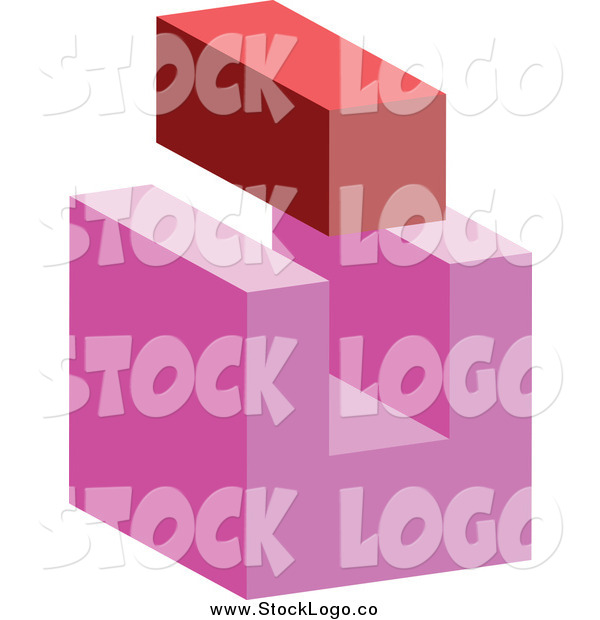 Vector Clipart of a 3d Red Brick and Abstract Pink Block Logo