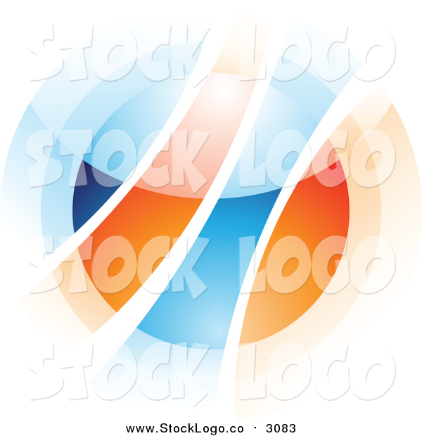 Vector Clipart of a Abstract Blurry Orange and Blue Orb