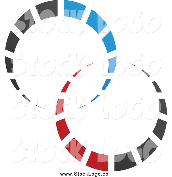 Vector Clipart of a Abstract Red, Black and Blue Circle Logo