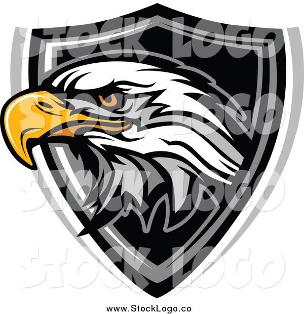Vector Clipart of a Bald Eagle Head and Shield Logo