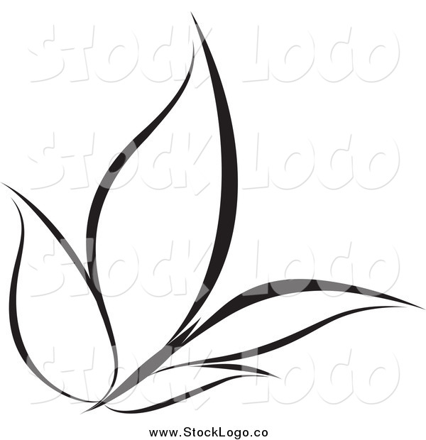 Vector Clipart of a Black and White Butterfly in Flight Logo