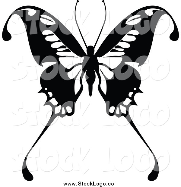 Vector Clipart of a Black and White Butterfly Logo