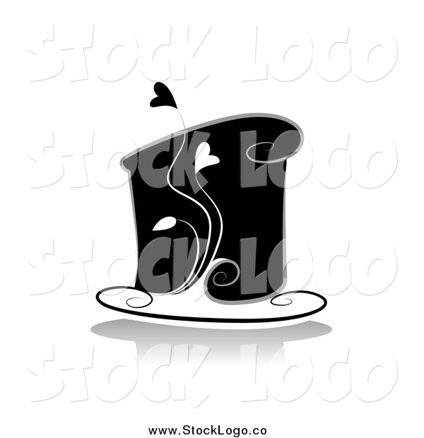 Vector Clipart of a Black and White Cake with Hearts