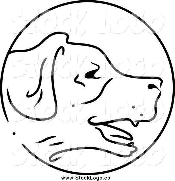 Vector Clipart of a Black and White Chinese Zodiac Dog Logo