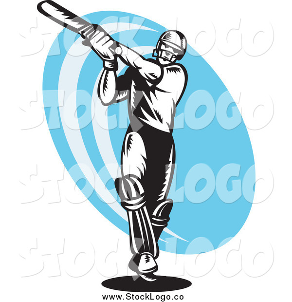 Vector Clipart of a Black and White Cricket Batsman over a Blue Logo