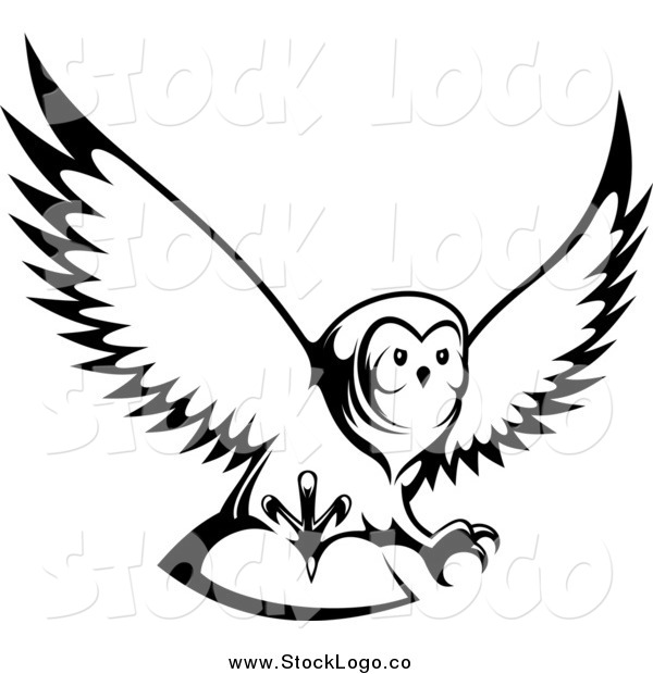 Vector Clipart of a Black and White Flying Owl Logo