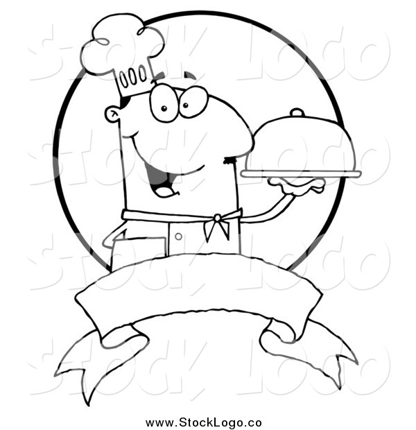 Vector Clipart of a Black and White Friendly Male Chef Holding a Platter over a Blank Banner and Circle