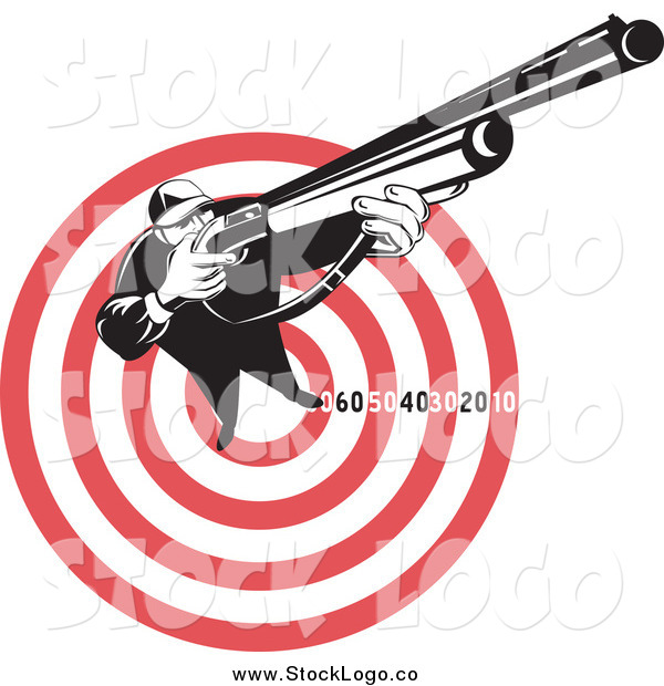Vector Clipart of a Black and White Hunter Aiming a Rifle on a Red and White Target Logo
