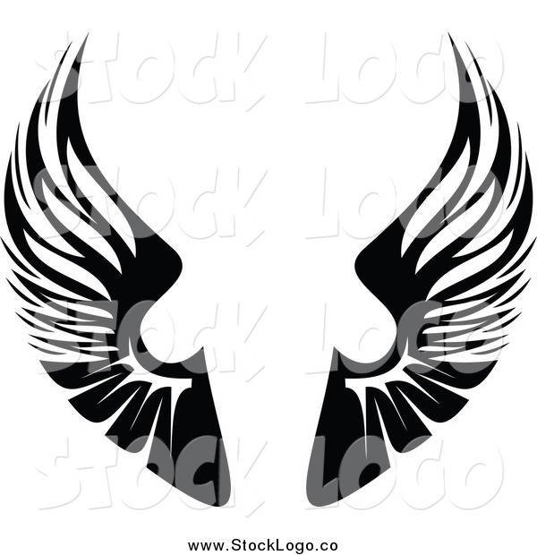 Vector Clipart of a Black and White Pair of Wings Logo