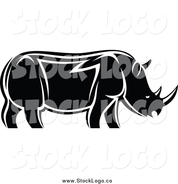 Vector Clipart of a Black and White Rhino in Profile Logo