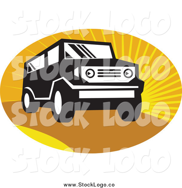 Vector Clipart of a Black and White SUV over Sunshine Logo