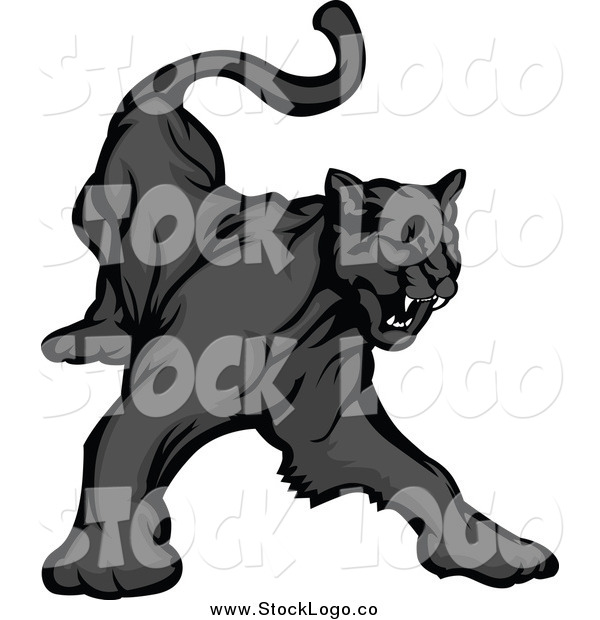 Vector Clipart of a Black Panther Growling Logo